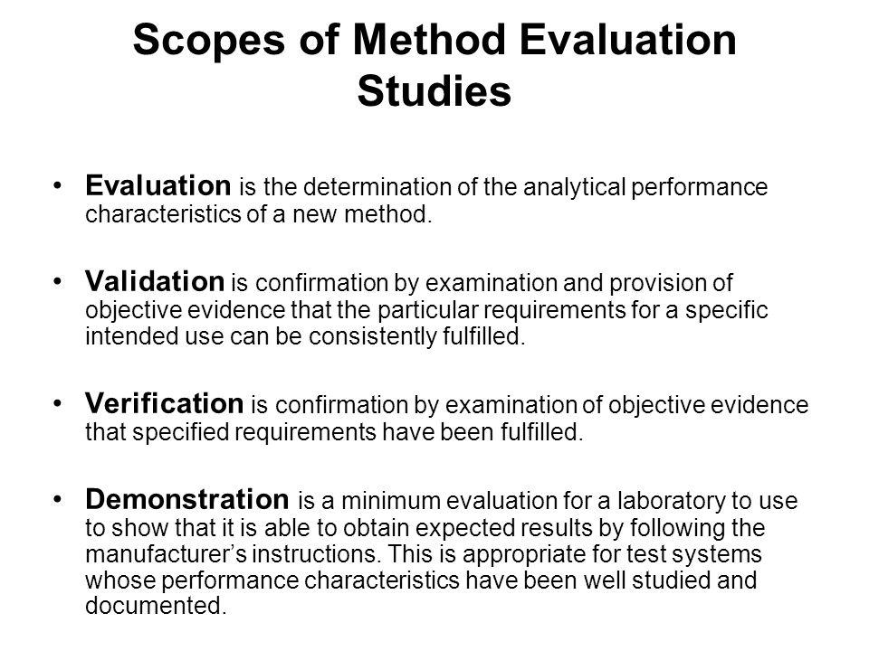 Scopes of Method Evaluation Studies