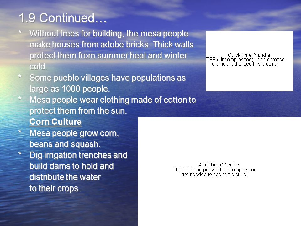 1.9 Continued… * Without trees for building, the mesa people