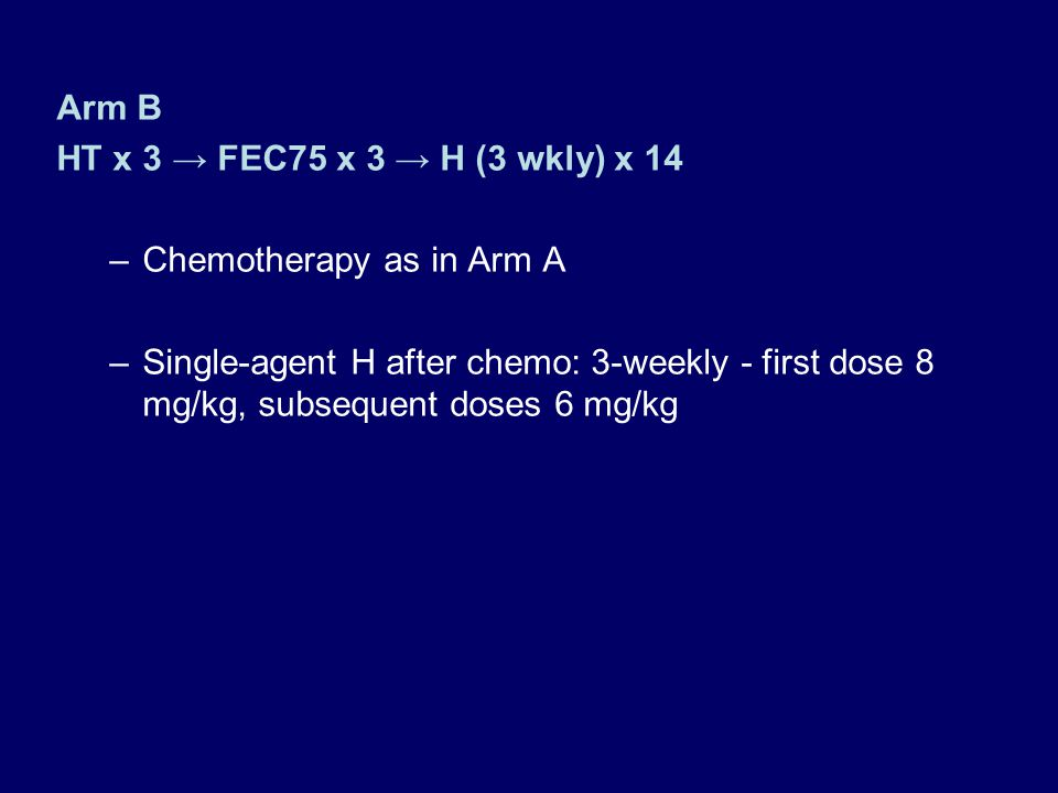 Arm B HT x 3 → FEC75 x 3 → H (3 wkly) x 14. Chemotherapy as in Arm A.