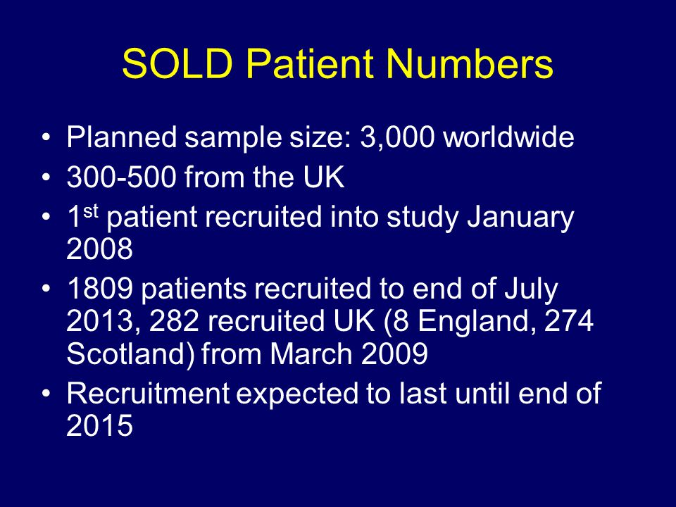 SOLD Patient Numbers Planned sample size: 3,000 worldwide