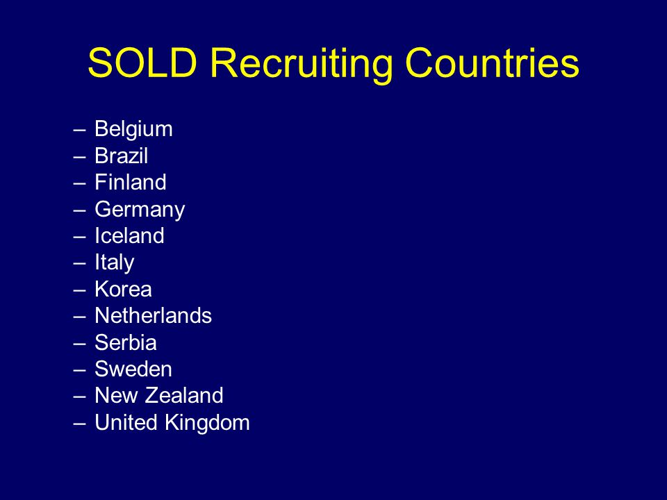 SOLD Recruiting Countries