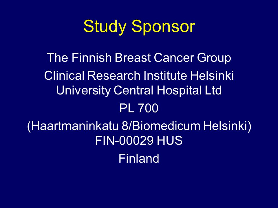 Study Sponsor The Finnish Breast Cancer Group