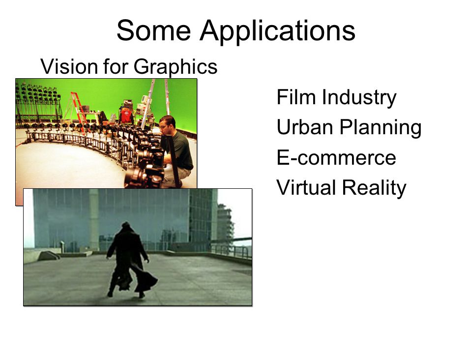 Some Applications Vision for Graphics Film Industry Urban Planning