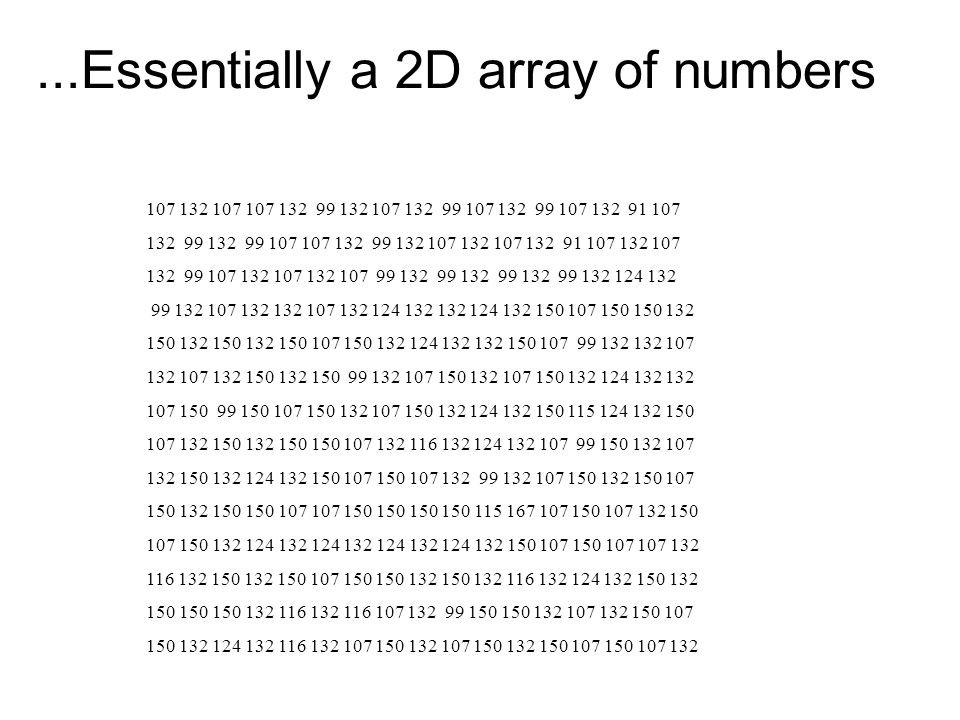 ...Essentially a 2D array of numbers