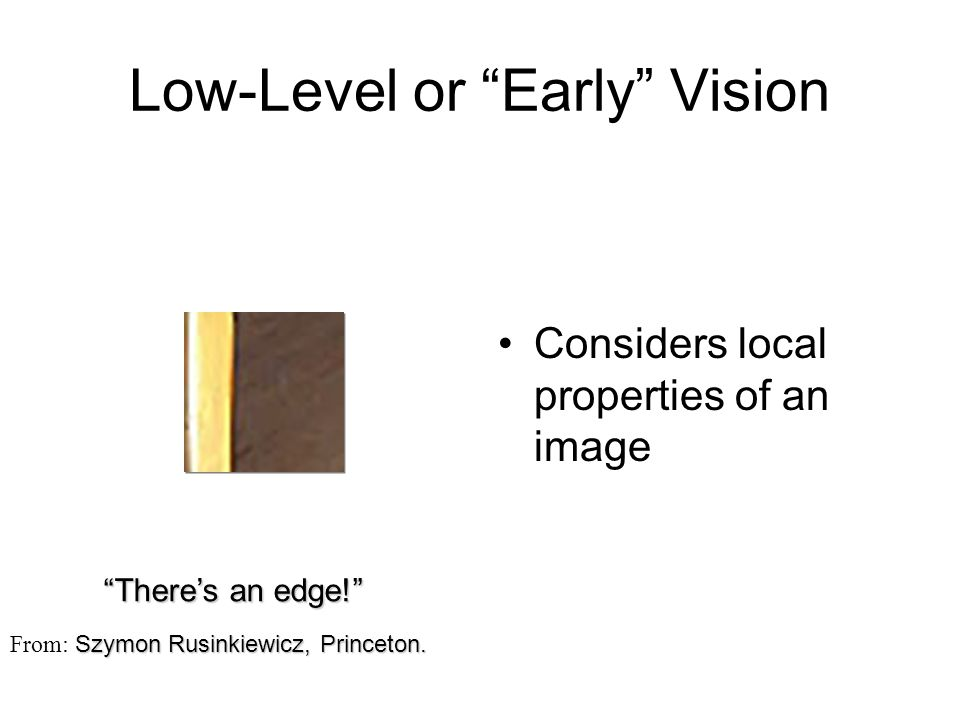 Low-Level or Early Vision