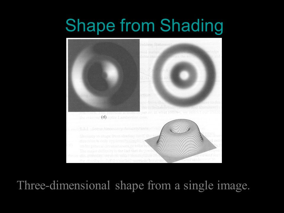 Shape from Shading Three-dimensional shape from a single image.