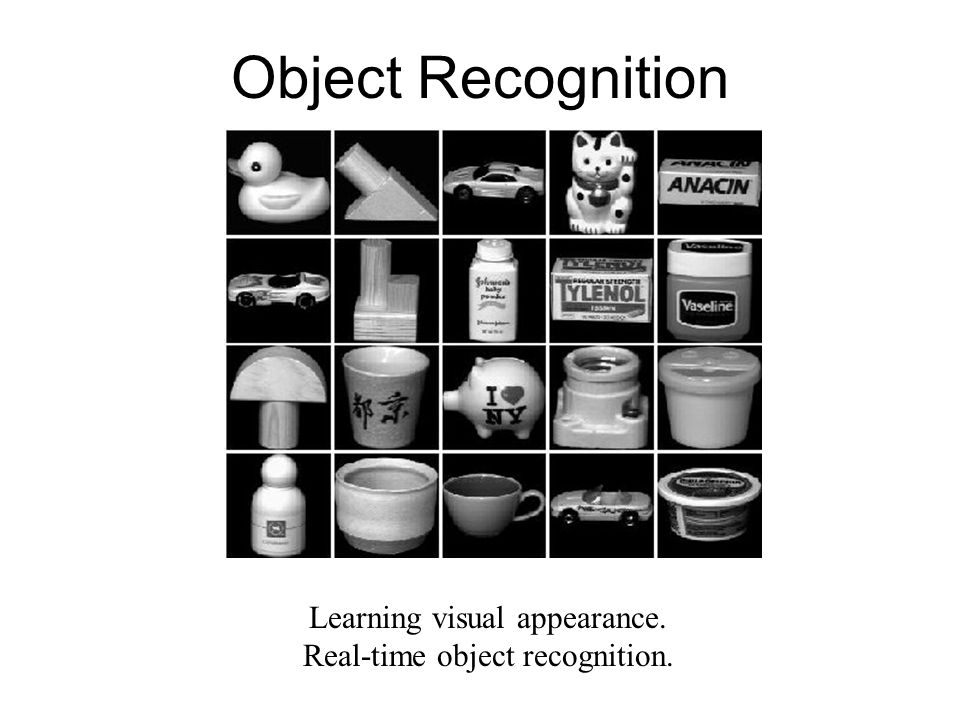Object Recognition Learning visual appearance.