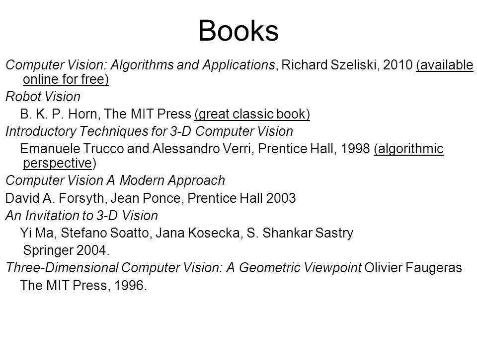 Books Computer Vision: Algorithms and Applications, Richard Szeliski, 2010 (available online for free)