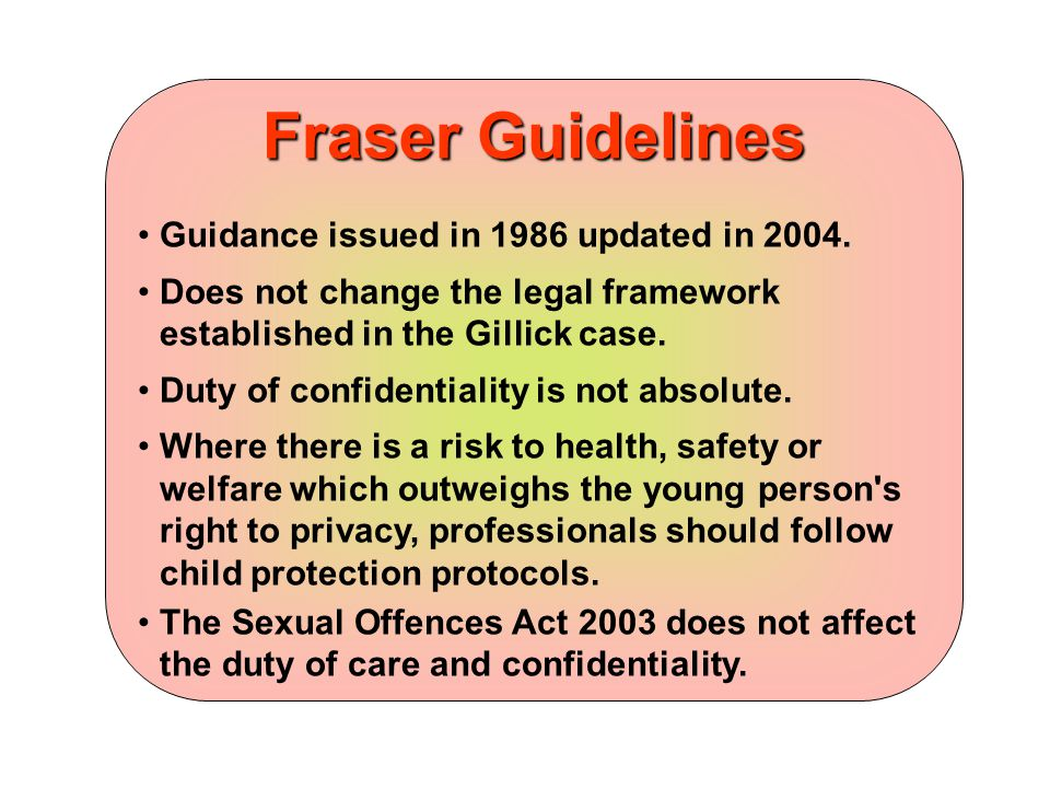 Fraser Guidelines Guidance issued in 1986 updated in 2004.