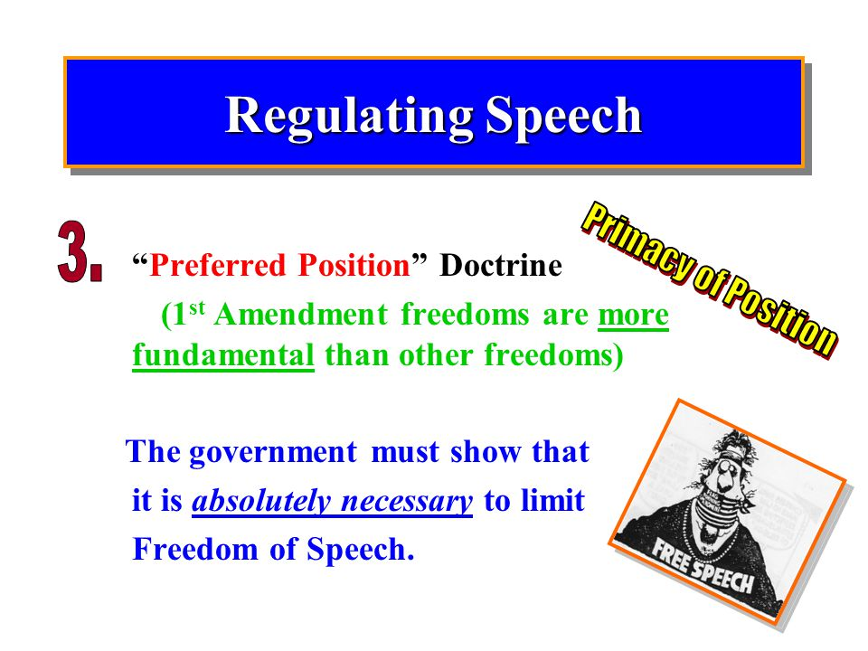 Regulating Speech 3. Primacy of Position Preferred Position Doctrine