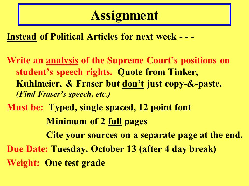 Assignment Instead of Political Articles for next week - - -