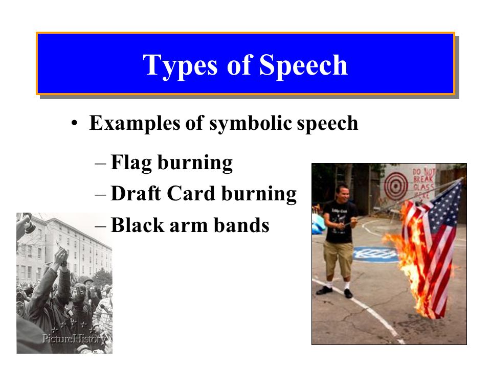 Types of Speech Examples of symbolic speech Flag burning