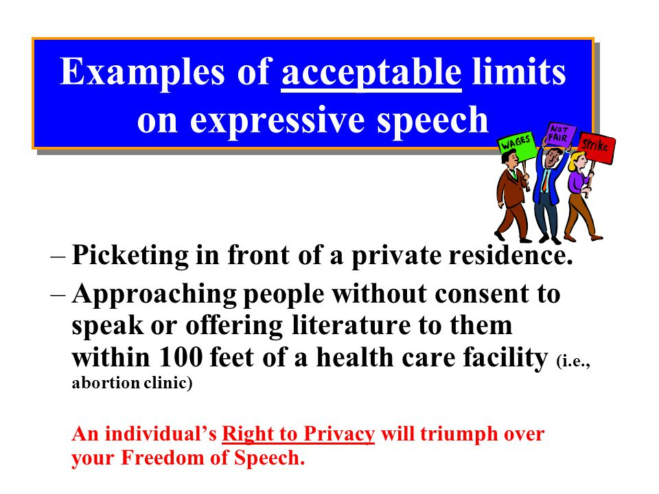Examples of acceptable limits on expressive speech