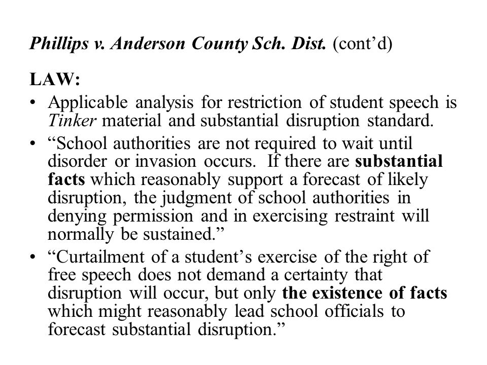 Phillips v. Anderson County Sch. Dist. (cont'd)