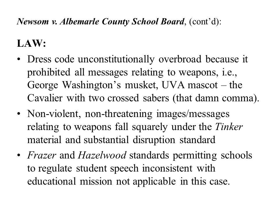 Newsom v. Albemarle County School Board, (cont'd):