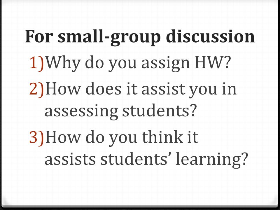 For small-group discussion