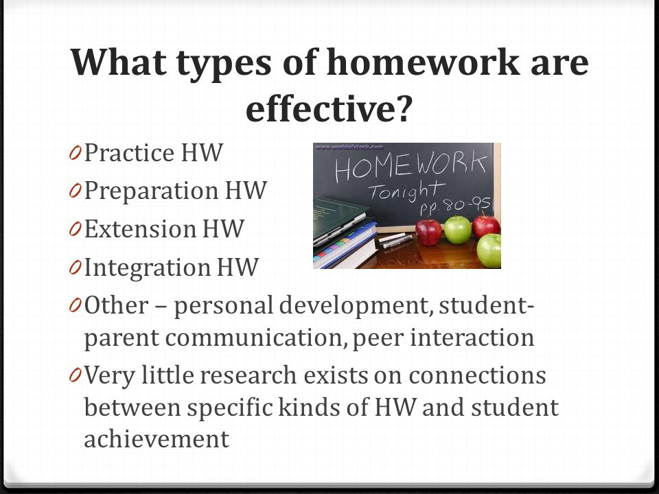 What types of homework are effective