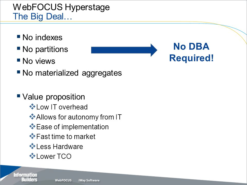 WebFOCUS Hyperstage The Big Deal…