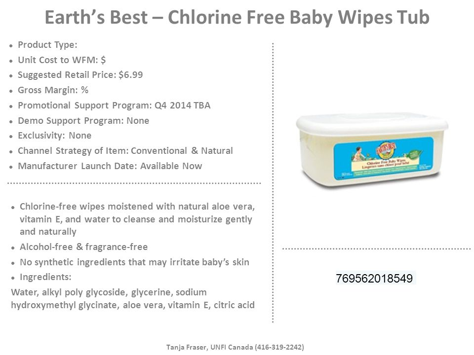 Earth's Best – Chlorine Free Baby Wipes Tub