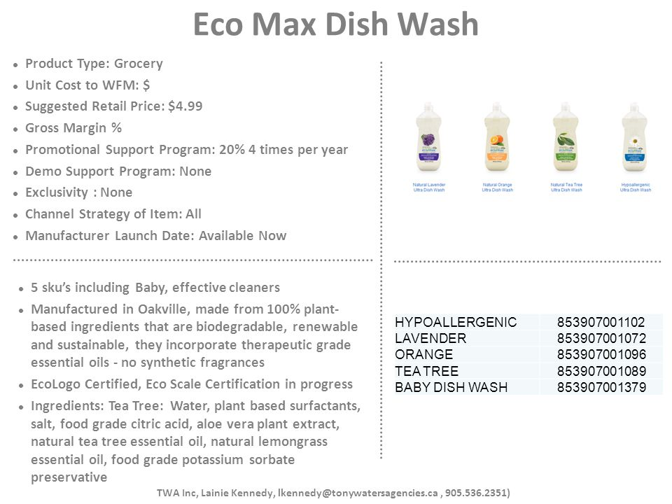 Eco Max Dish Wash Product Type: Grocery Unit Cost to WFM: $