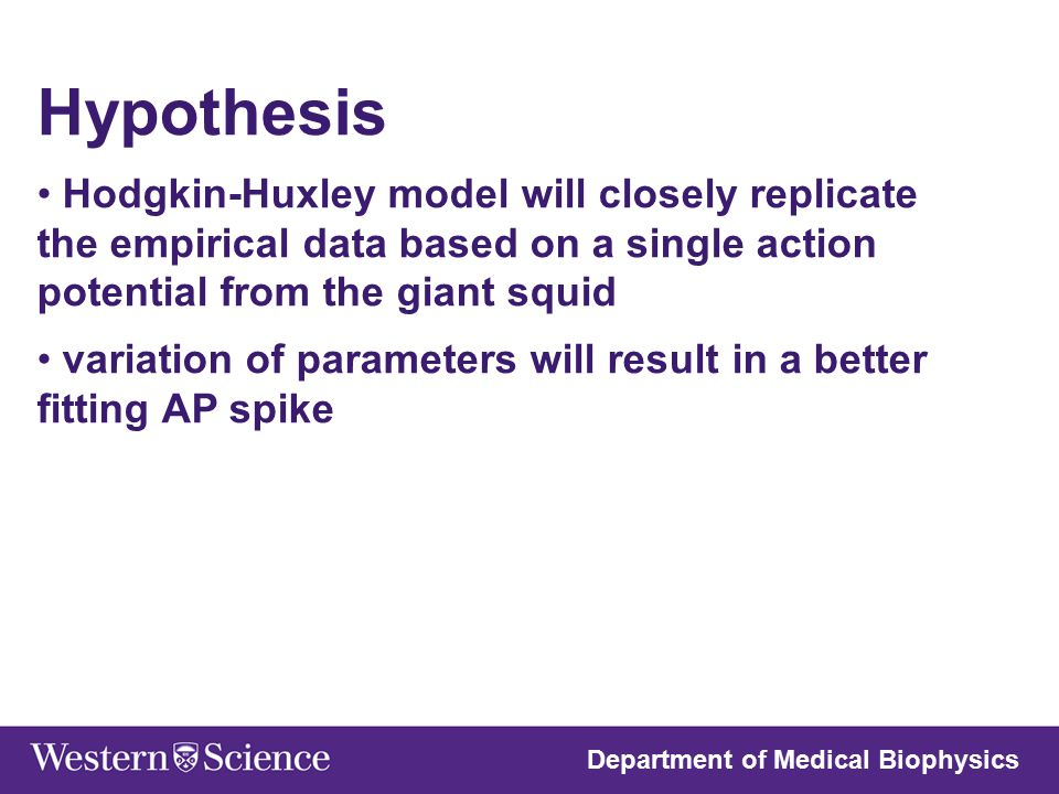 Hypothesis Hodgkin-Huxley model will closely replicate the empirical data based on a single action potential from the giant squid.