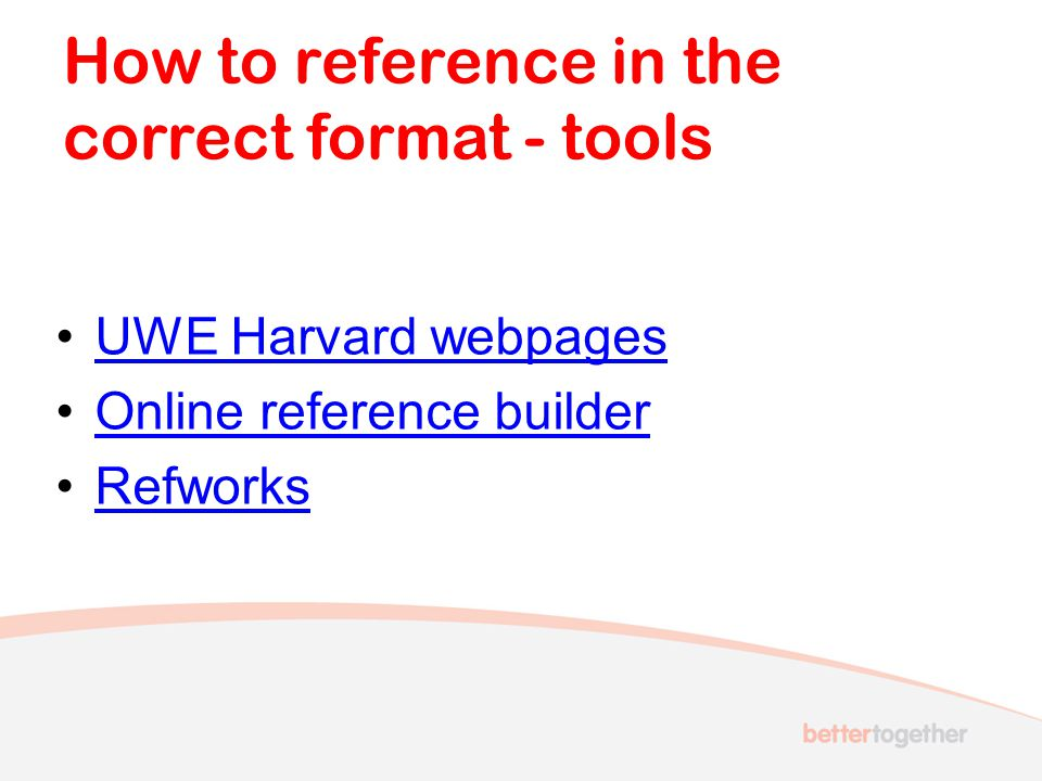 How to reference in the correct format - tools
