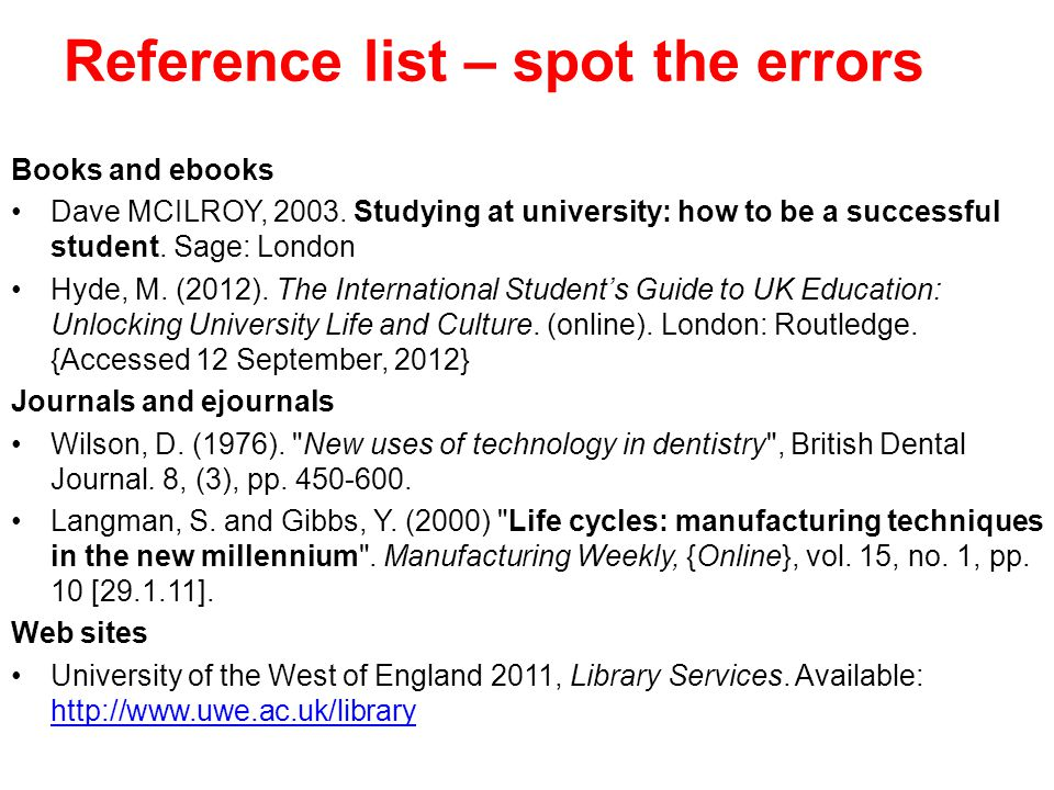 Reference list – spot the errors