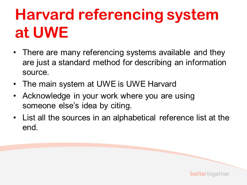 Harvard referencing system at UWE