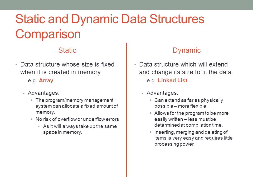 Static and Dynamic Data Structures Comparison