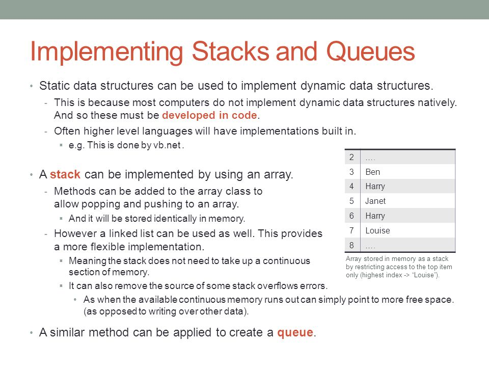 Implementing Stacks and Queues