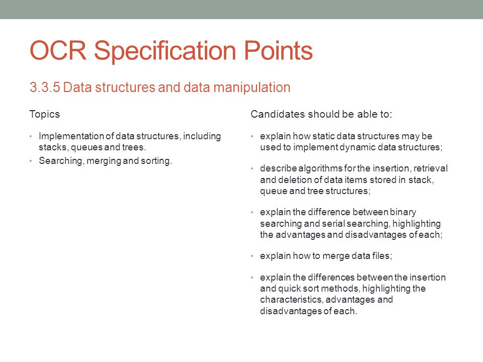 OCR Specification Points
