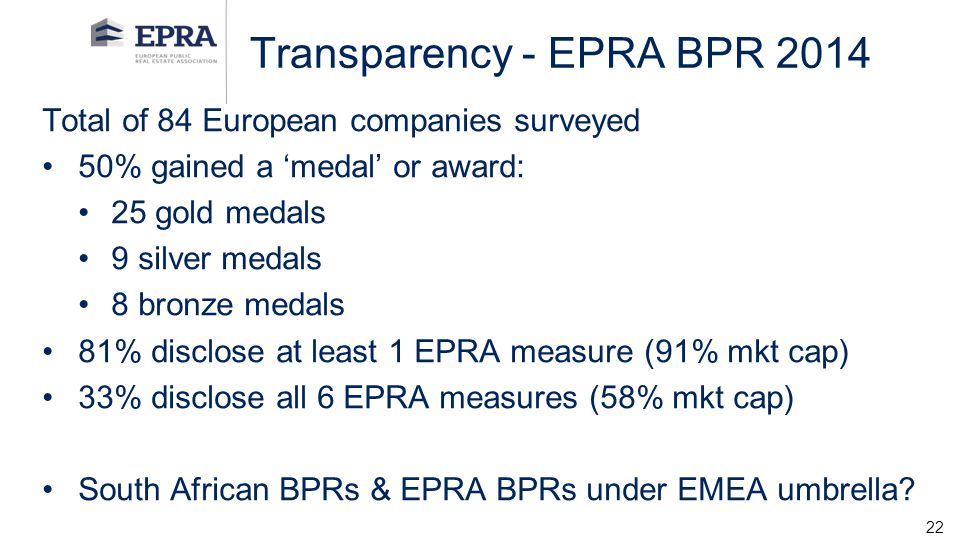 Transparency - EPRA BPR 2014