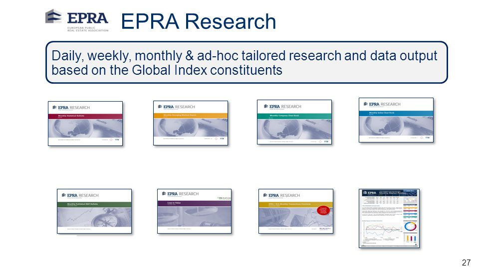EPRA Research Daily, weekly, monthly & ad-hoc tailored research and data output based on the Global Index constituents.