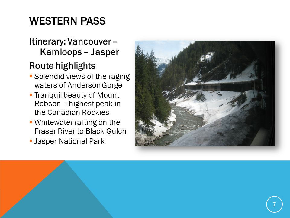 Western Pass Itinerary: Vancouver – Kamloops – Jasper Route highlights