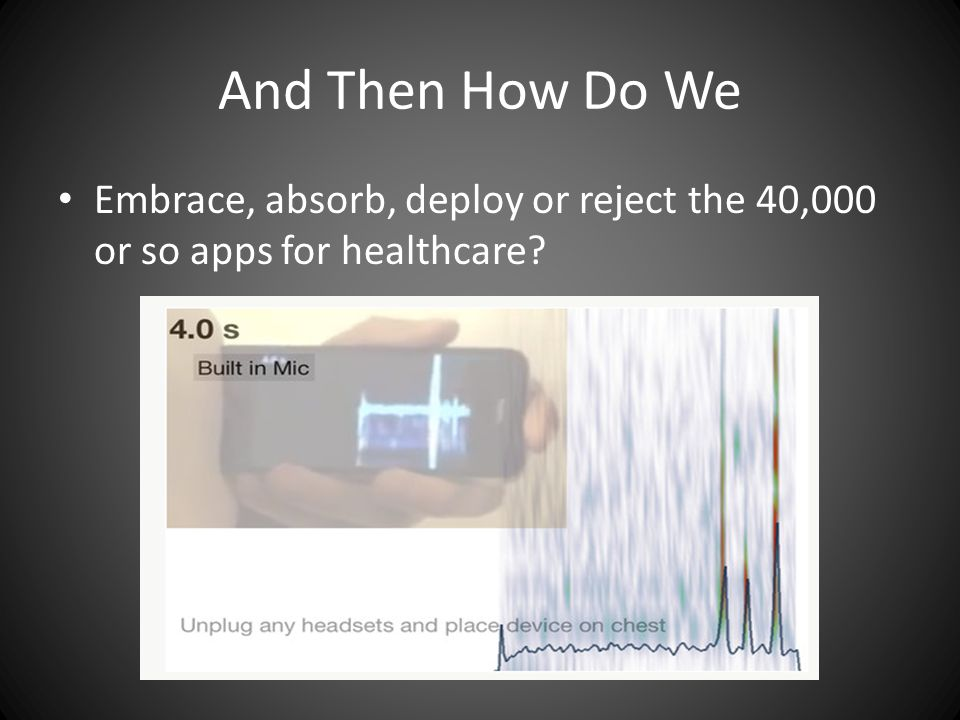 And Then How Do We Embrace, absorb, deploy or reject the 40,000 or so apps for healthcare
