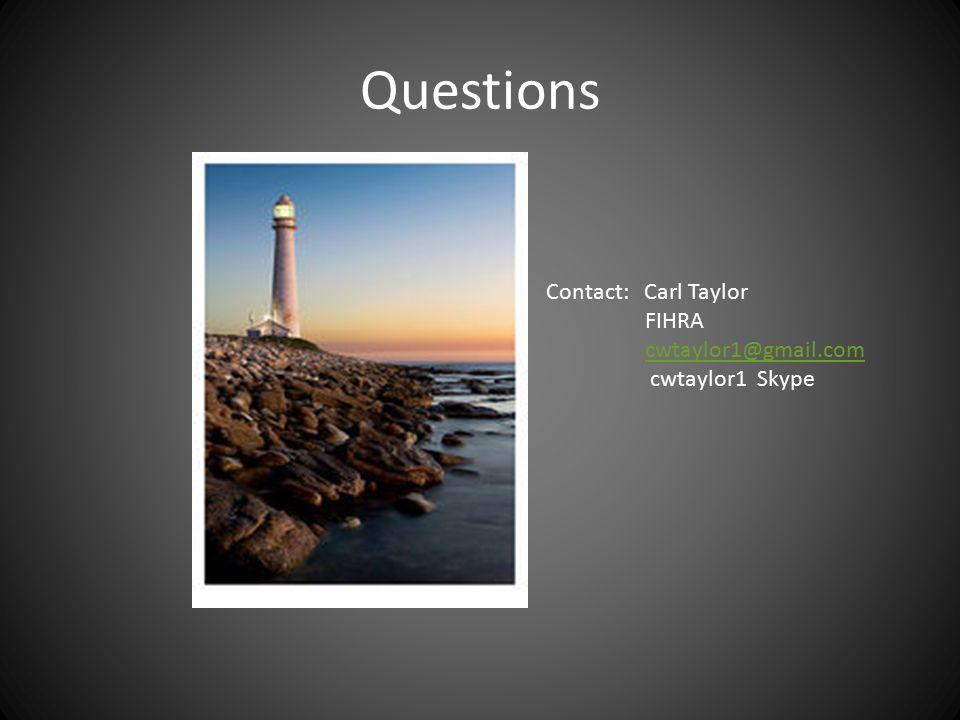 Questions Contact: Carl Taylor FIHRA cwtaylor1@gmail.com