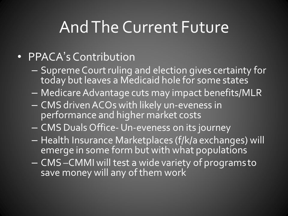 And The Current Future PPACA's Contribution