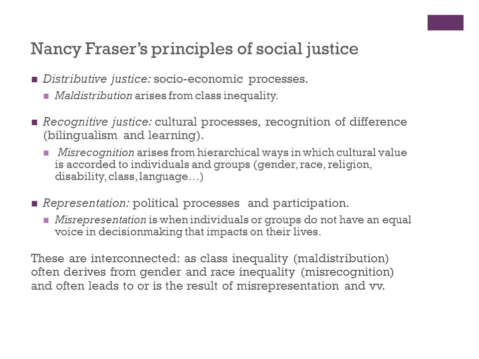 Nancy Fraser's principles of social justice