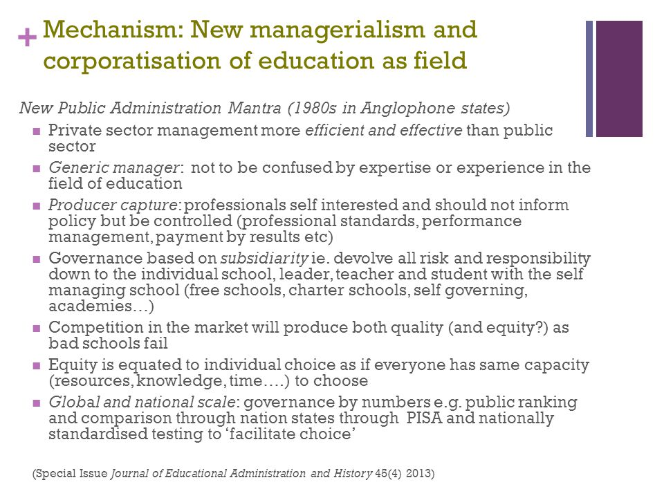 Mechanism: New managerialism and corporatisation of education as field