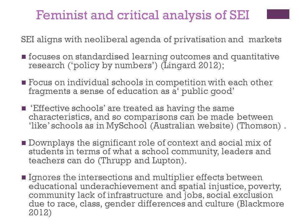 a critical analysis of feminist theories Feminist theory the basis of the feminist movements, both in literature and politics, is that western culture is fundamentally patriarchal (ie, created by men, controlled by men, viewed through the eyes.