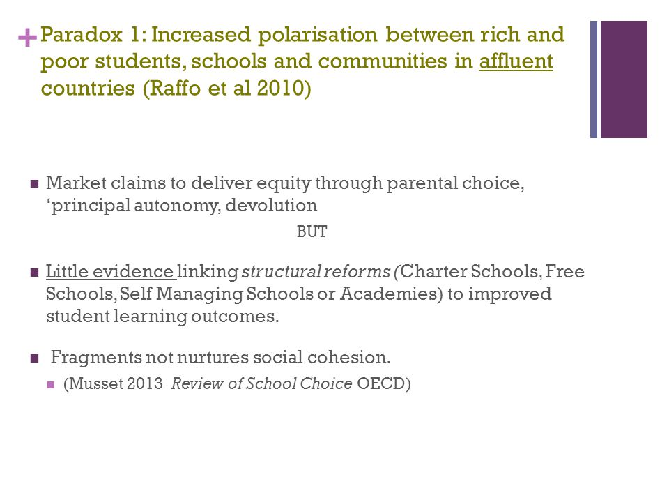 Paradox 1: Increased polarisation between rich and poor students, schools and communities in affluent countries (Raffo et al 2010)