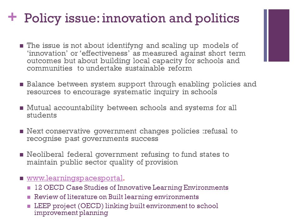 Policy issue: innovation and politics