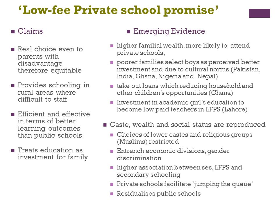 'Low-fee Private school promise'