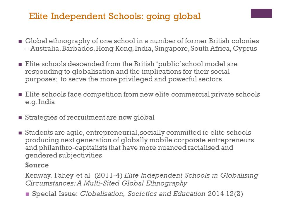Elite Independent Schools: going global