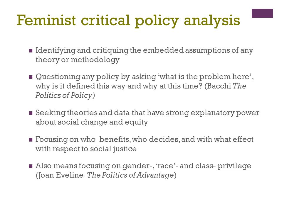 Feminist critical policy analysis