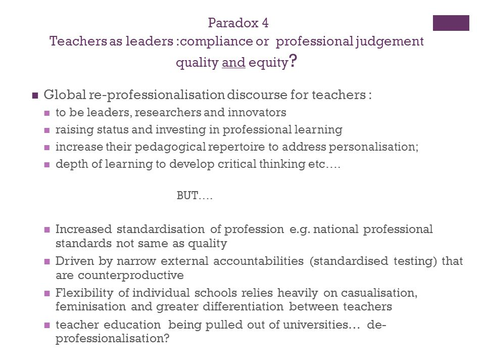 Teachers as leaders :compliance or professional judgement
