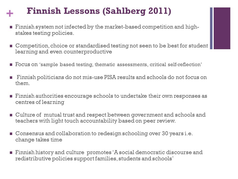 Finnish Lessons (Sahlberg 2011)