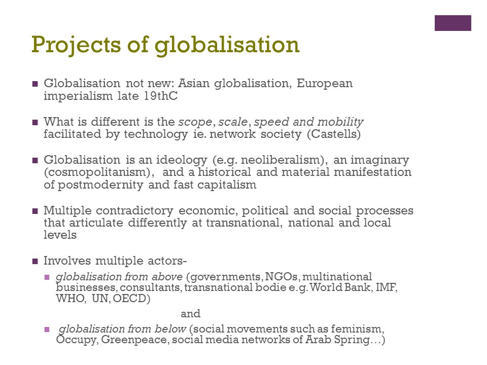 Projects of globalisation