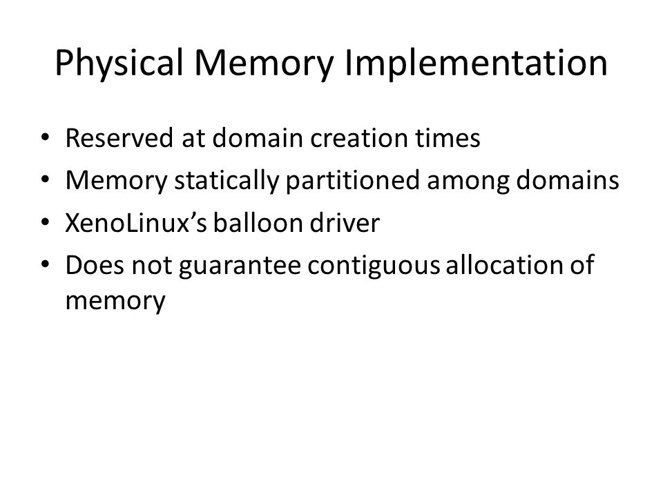 Physical Memory Implementation
