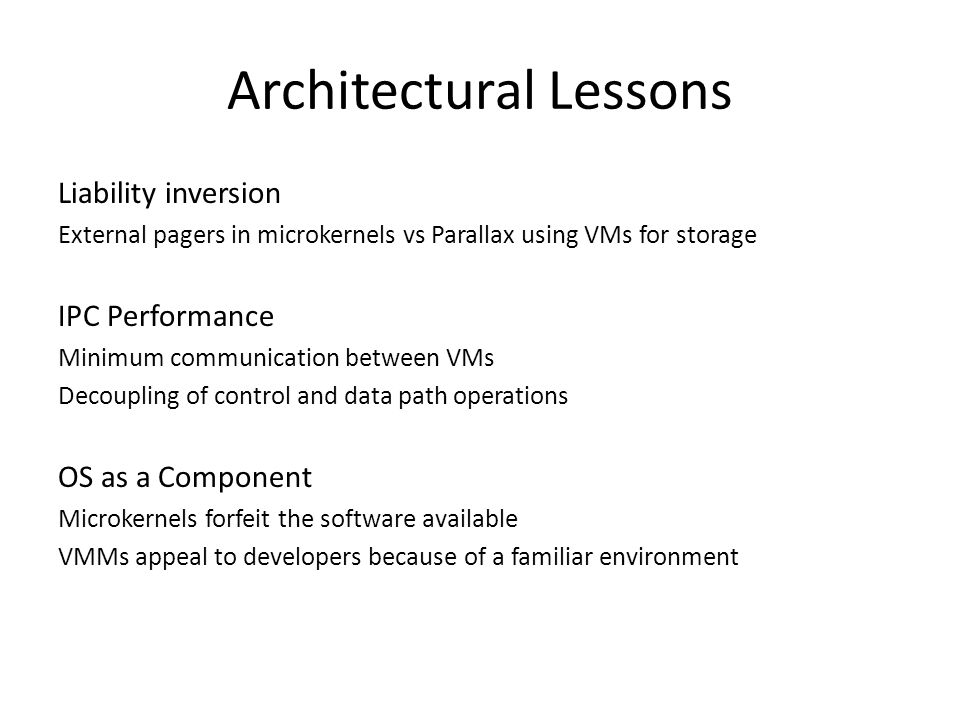 Architectural Lessons